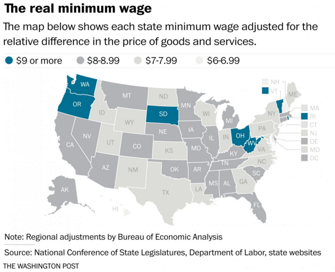 Map How geography affects the value of the minimum wage The ...